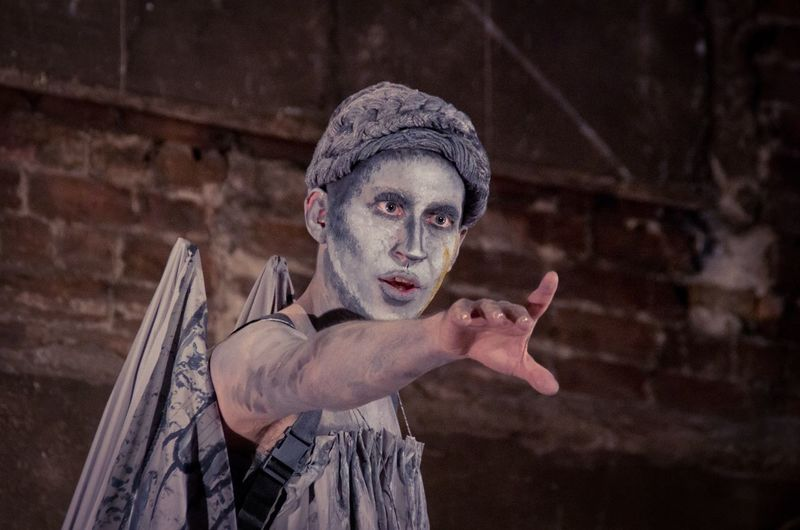 Don't blink! Dharma Geddon as a Weeping Angel. From The Big Variete at the Panopticon Musichall June 24th 2015 Blink Britannia Panopticon Burlesque Caba Cabaret Costume Doctor Who Drag Queen Dragonfly Glasgow  Landscape Musichall  People Performance Portrait Pose Scotland Theatre Variation Weeping Angel