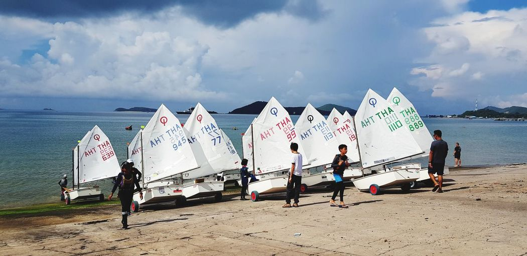 Sailing Slip Way Optimist Sailing EyeEm Selects Sea Water Beach Sand Protection Summer Sky Horizon Over Water Cloud - Sky Shore