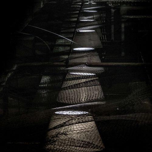 Shadow of person on illuminated staircase