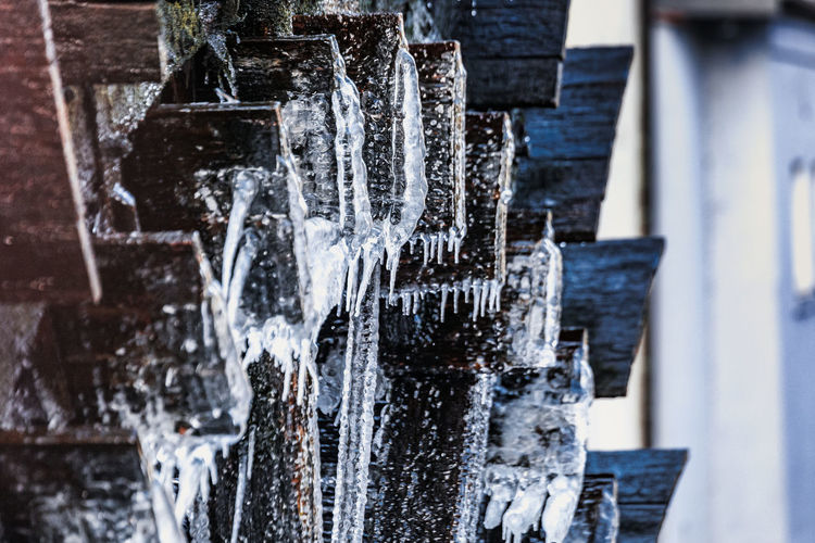 Water Day No People Architecture Focus On Foreground Outdoors Selective Focus Ice Motion Cold Temperature Nature Built Structure Splashing Frozen In A Row Purity Icicle Fountain Wood - Material Flowing Water Running Water Czech Republic Prague Winter