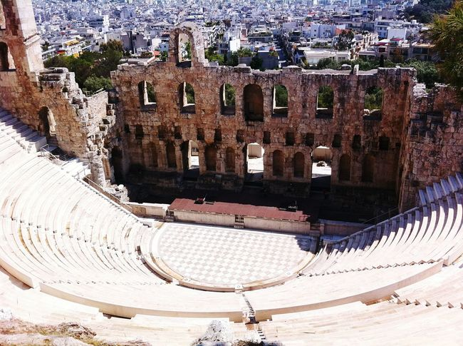 Acropolis Athens Greece Amfiteater City Antique Building Archeological Complex