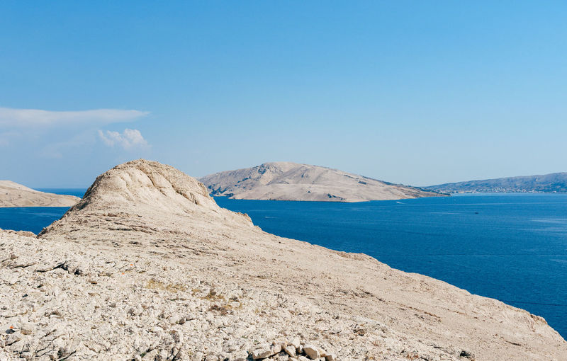 Beautiful rock formations on coast with amazing sea view on pag island in croatia.