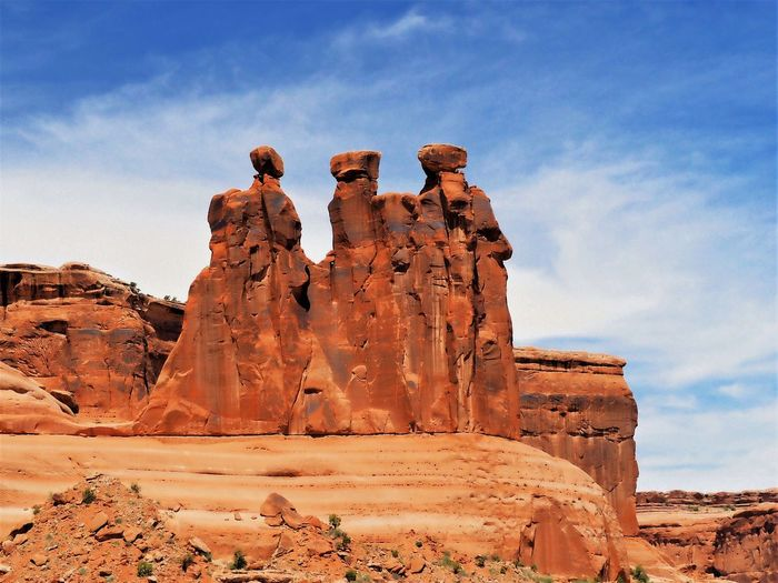 View of rock formations against sky