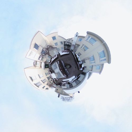 Tiny planet of Aagaards Plass, Sandefjord, Vestfold. Tinyplanet Theta360 Housing EyeEm Selects Architecture Built Structure Building Exterior Sky Planet Earth Fish-eye Lens Technology No People City Outdoors Day Cityscape