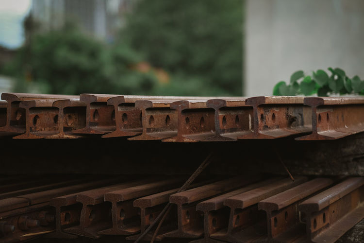 Close-up of roof tiles against building