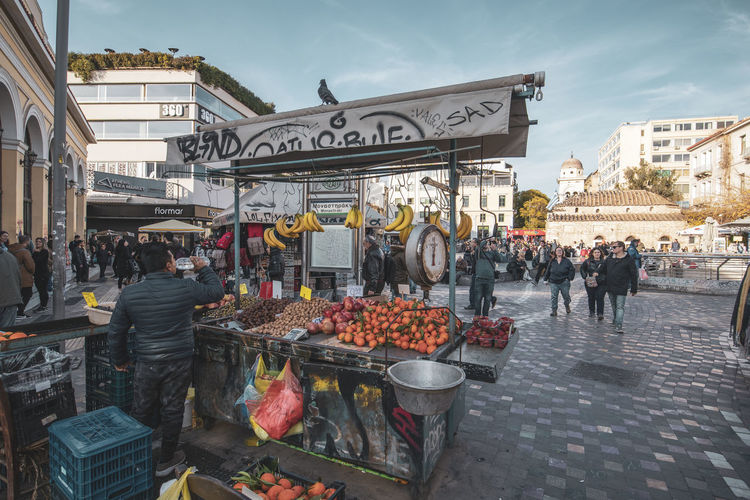 Athens Athens Greece Athens, Greece Group Of People Food And Drink Building Exterior Architecture City Real People Food Built Structure Street Day Large Group Of People Market Text Crowd Men Western Script Retail  Market Stall Women Outdoors Street Market