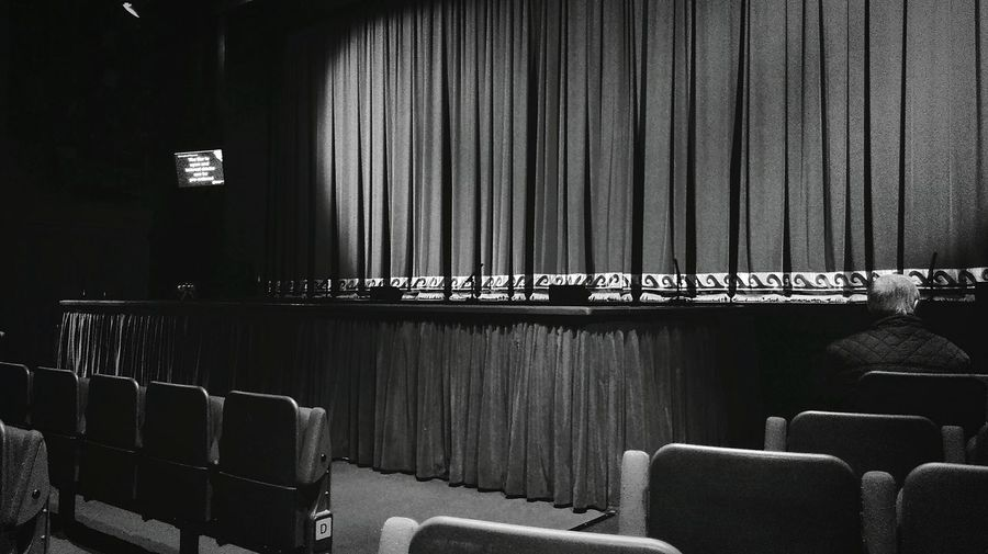 Lone Man Alone Theatre Empty Chairs Solitary Theatre Chair Curtain Call Curtain Theatre Lights Light And Shadow Black And White Black & White Black And White Photography Phone Photography HTC One