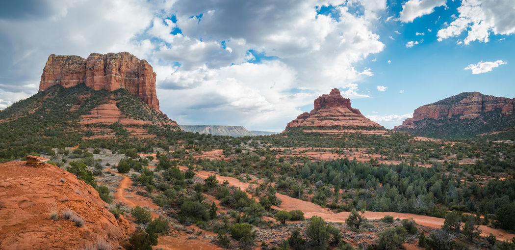 Bell Rock and Courthouse Butte Cloud - Sky Rock Sky Rock - Object Beauty In Nature Rock Formation Scenics - Nature Tranquil Scene Mountain Environment Tranquility Geology Nature Landscape Non-urban Scene No People Physical Geography Land Formation Eroded Mountain Peak