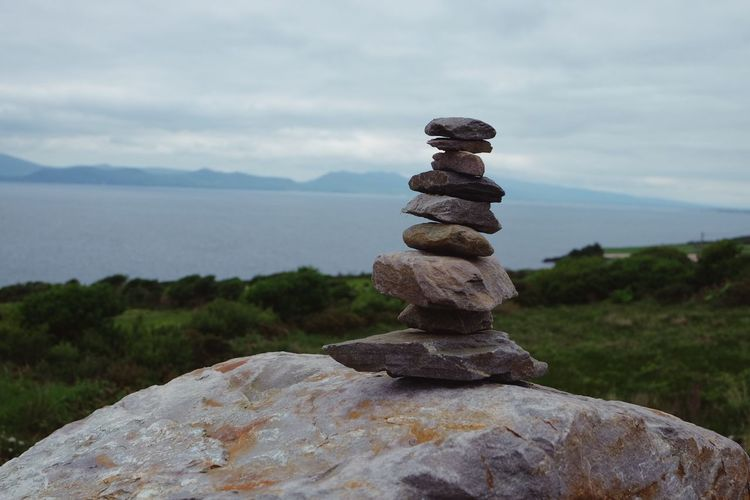 Balance Ireland Kerry Wildatlanticway Stack Balance Solid Rock Sky Rock - Object Stone - Object Tranquility Nature Tranquil Scene Cloud - Sky Zen-like No People Scenics - Nature Water Beauty In Nature Focus On Foreground Day Land Outdoors