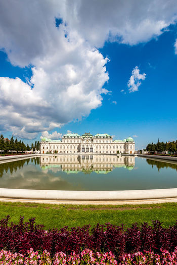 View with upper Belvedere palace Architecture Sky Building Exterior Cloud - Sky Water Plant Built Structure Nature Day Building City Tree Flower Flowering Plant Blue No People Lake Beauty In Nature Growth Outdoors Architecture Reflection Waterfront Travel Destinations Travel Travel Photography Tourist Destination Tourism EyeEm Travel Photography Schloss Belvedere Belvedere Castle Belvedere Vienna Wien Austria Upper Belvedere Jason_AT