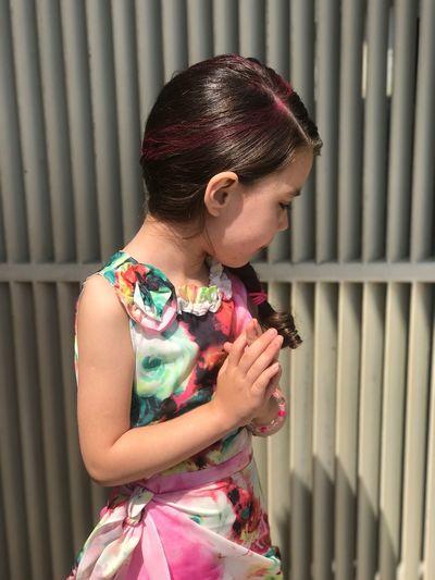 Mix Yourself A Good Time Girl Kids Pink Punk Hair Dress Casual Clothing Menina Vestido  Rosa
