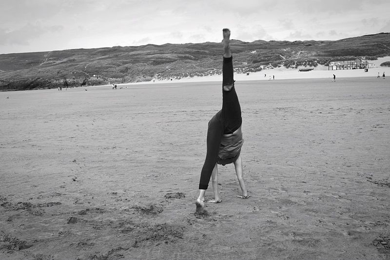 Tranquil Scene Nature Outdoors Non-urban Scene Beauty In Nature Sea Captured Moment Sand Seaside Hello World Taking Photos Outdoor Photography Beach Photography Beachphotography Blackandwhite Monochrome Yoga Handstand  Gymnastics EyeEm Best Shots - Black + White Full Length Photography Stomach Legs Summertime
