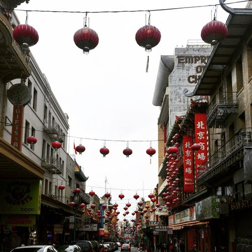 Lunar New Year Chinatown City Street Colour Your Horizn Lunar New Year San Francisco, California Street Life Chinese Lantern Chinese New Year City Low Angle View No People Overcast Red Lanterns Urban Landscape