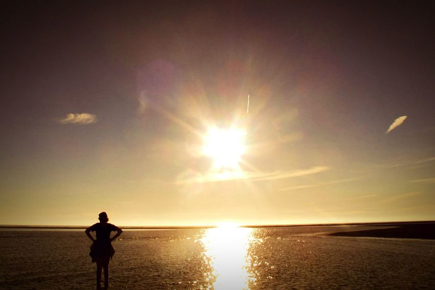Enjoying Life Reflection 43 Golden Moments Tranquility Summer Sun Sunset Sunshine Fine Art Photography Tranquil Scene Lytham St Annes Beach Seaside Sea And Sky Textures And Surfaces The Journey Is The Destination Sea Dazzle Showcase JulyGlare Glare On The Water Silhouette Girl Person Adventure Club