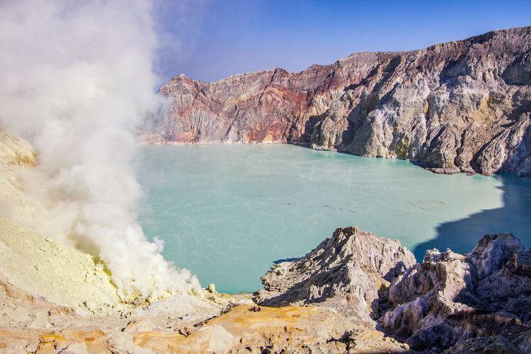Ijen crater landscape in the banyuwangi regency of east java, indonesia