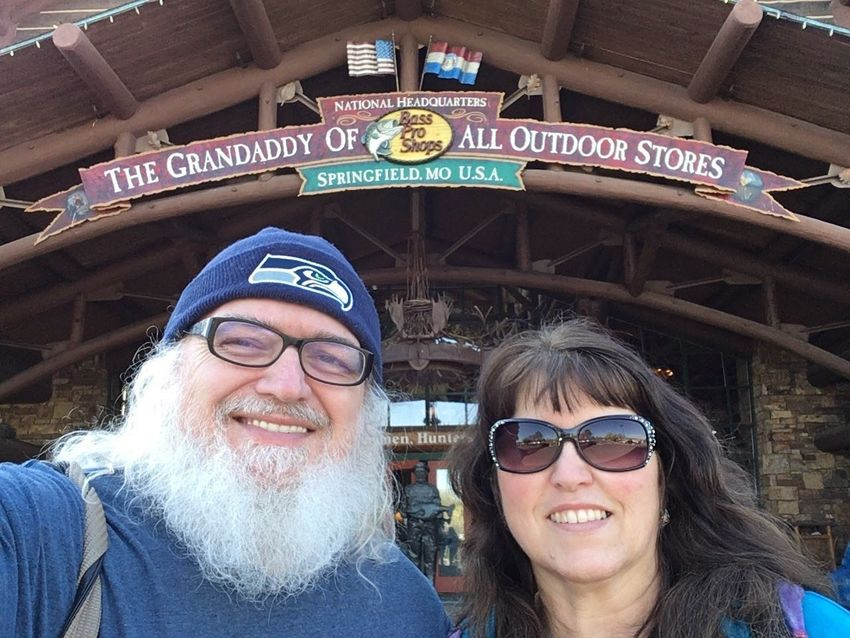 With my Sweetheart at the Bass Pro Shops Outdoor World original Store in Springfield, Missouri Show Me State Of Mind Streamzoofamily Wife White Beard Seattle Seahawks Watch Cap Ozarks Fun