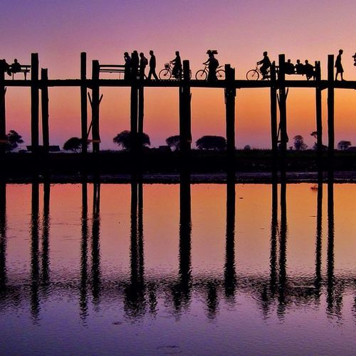Travelphotography Burma Myanmar Mandalay Ubein Ubeinbridge Sunset Silhouette Reflections