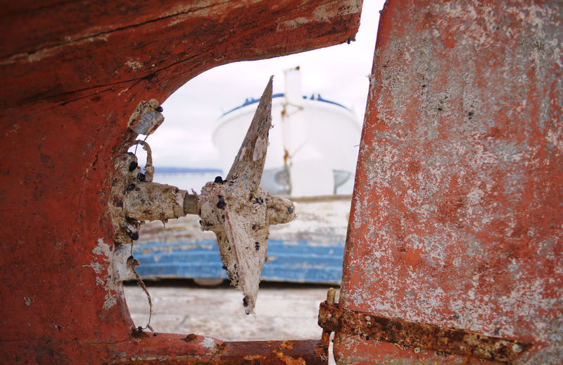 Close-up of propeller of ship