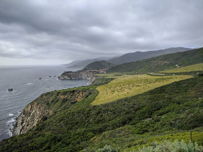 One of my favourite spot! Big Sur, CA. Pacific Coast Highway Big Sur Edge Of The World Cliff Ocean Pacific Ocean Scenic Route Water Sea Beach High Angle View Sky Landscape Cloud - Sky Storm Cloud Atmospheric Mood Dramatic Sky Overcast