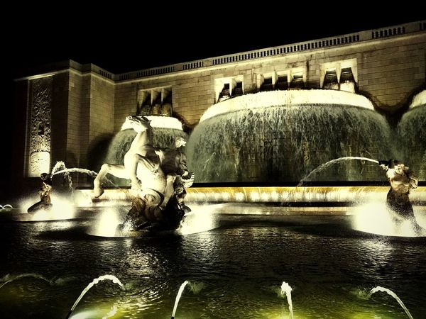 Lisbon Night Nightphotography Water Fountain Fountain Waterfall