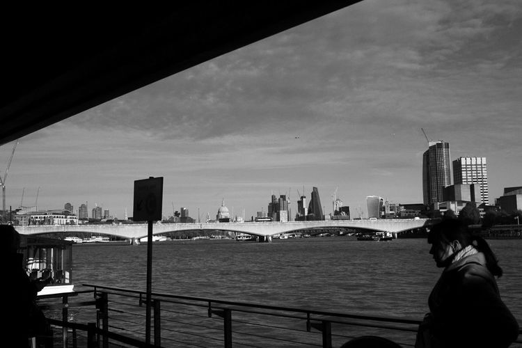 London by the Thames Portrait Bw Bw_collection Bw_lover BW_photography Women Woman Portrait Shape Forms Perspective Blackandwhite Photography City Cityscape Urban Skyline Skyscraper Water Bridge - Man Made Structure River Sky Architecture Building Exterior Harbor Dock Boat EyeEmNewHere
