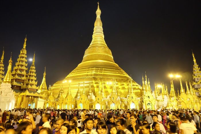Large Group Of People Real People Religion Night Spirituality Crowd Architecture Place Of Worship Illuminated Built Structure Vesak Shwedagon Yangon Myanmar Fujixa2 Temple Sky Outdoors People