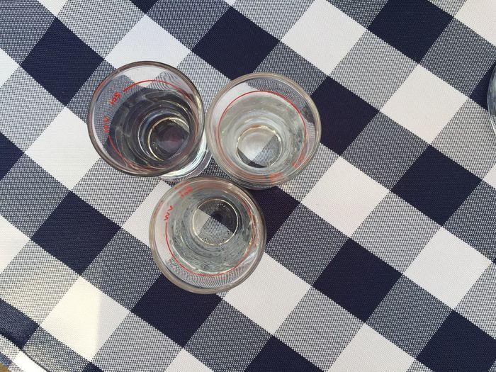Three glasses on table