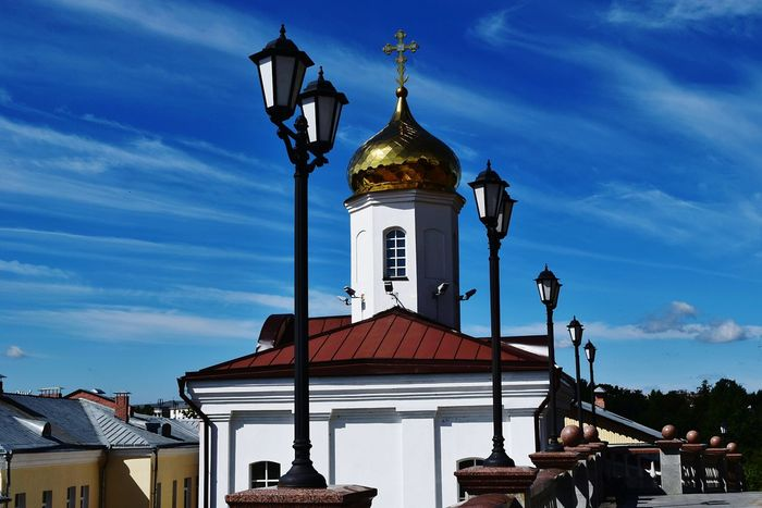 Orthodox Church Church Collection Place Of Worship Religion Dome Spirituality Church Architecture Church Cross Sunny Day Church Dome Summer Day No People Clear Sky Golden Dome Outdoors Streetlamps Houses Blue Sky And Clouds Vitebsk,Belarus