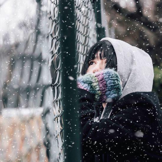 Portrait of a boy in rain