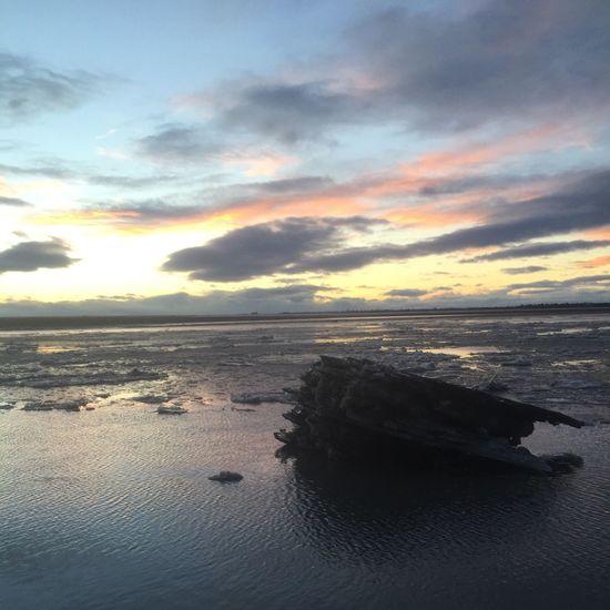 Beach Outdoors Sunrise Winter Ocean Surf Ice Alaska
