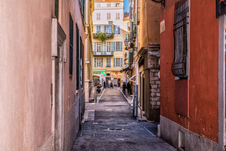 Alley Architecture Building Exterior Built Structure City Day France Nice France Old Town Outdoors Real People Residential Building Street The Way Forward