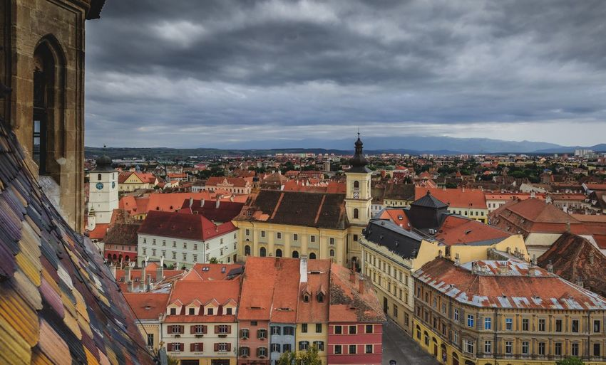 Old town Sibiu Sibiu, Romania Building Exterior Architecture Built Structure City Building Cloud - Sky Cityscape Sky Residential District Crowd Crowded High Angle View Town TOWNSCAPE City Life Outdoors Roof