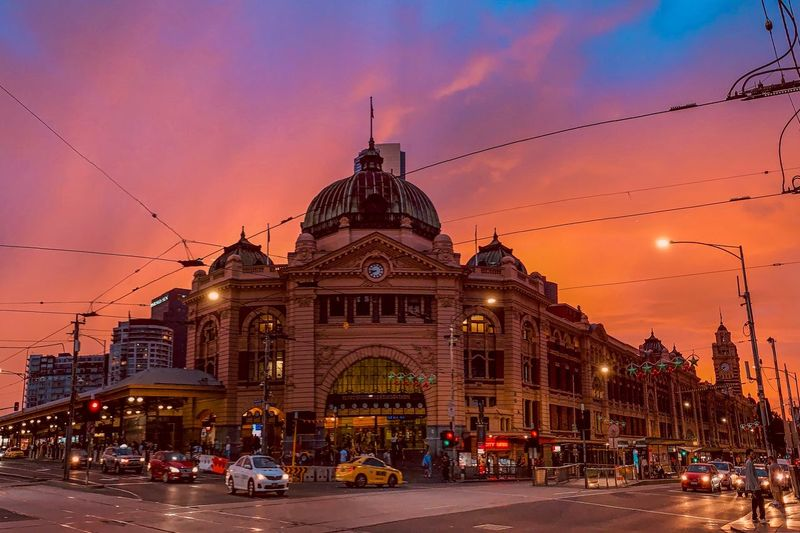 Sunset in Melbourne Melbourne Architecture Building Exterior Built Structure Sky Sunset Religion Travel Destinations Building Illuminated The Past Transportation Place Of Worship Spire  Nature