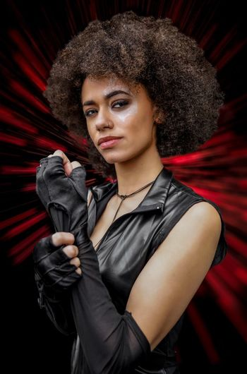 Domino Cosplayer Cosplay Nycc2018 NYCC Domino One Person Young Adult Looking At Camera Portrait Curly Hair Front View Indoors  Standing Waist Up Young Women Beautiful Woman Hair