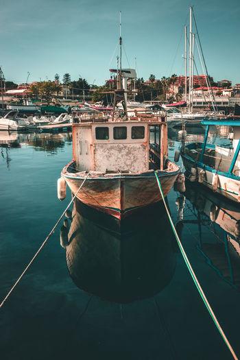 Old boat at the port Boat Old Harbor Sea Sicily Port Landscape Fishing Fishingboat Ocean Mediterranean