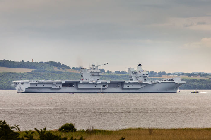 HMS Queen Elizabeth Aircarft Carrier Day Elizabeth Hms Military Mode Of Transport Nature Nautical Vessel No People Outdoors Queen Sea Sky Transportation Water Weapon