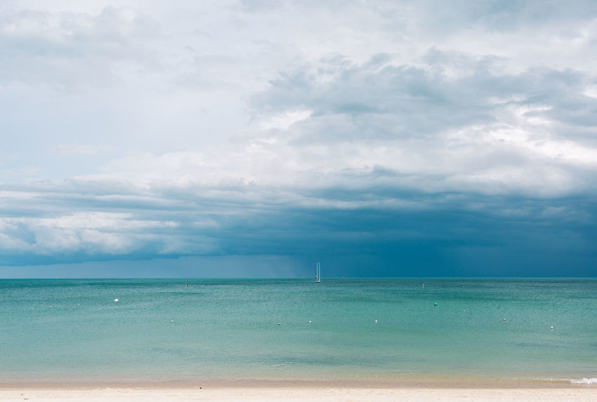 Sky Cloud - Sky Water Sea Horizon Horizon Over Water Scenics - Nature Beauty In Nature Tranquil Scene Land Beach Tranquility Nature Day Idyllic No People Blue Outdoors Turquoise Colored