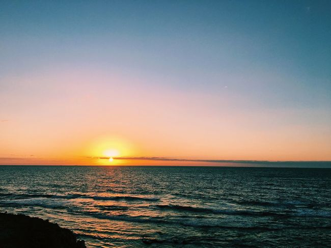 Lost In The Landscape Through needle's eye Sunset Sea Beauty In Nature Scenics Nature Tranquil Scene Water Tranquility Horizon Over Water Idyllic Sun Sky No People Outdoors Beach Clear Sky Wave Day
