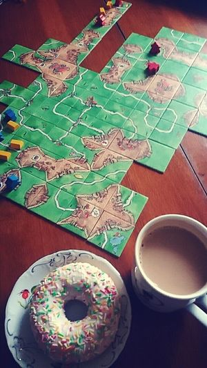 Carcassonne Game Time  Coffee And Donut Coffee ☕ Playing Together Victory With My Bestfriend ❤ Just Smile