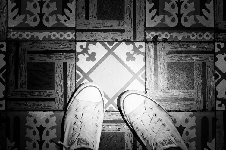 Shoe Low Section One Person Real People Tiles Blackandwhite Black And White Blackandwhite Photography Black And White Photography Black & White Feet Feet Selfie Day Standing Indoors  Close-up One Man Only