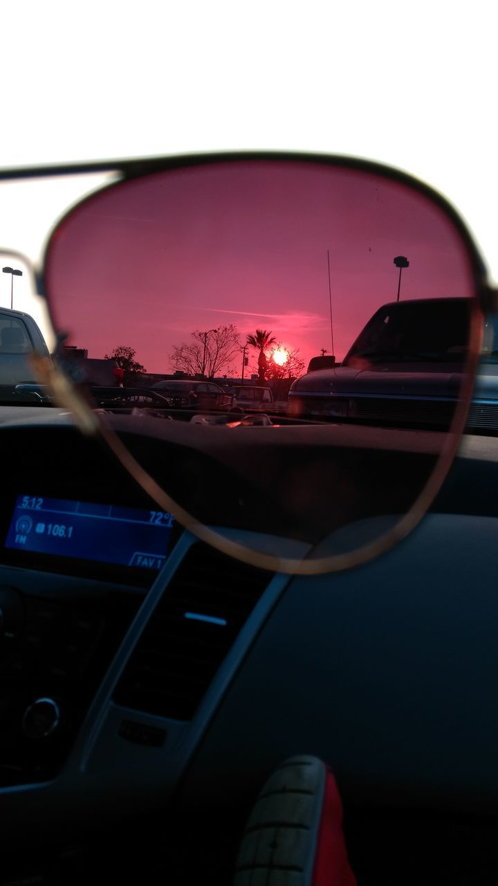car, transportation, land vehicle, mode of transport, side-view mirror, car interior, windshield, no people, sunset, sky, outdoors, day, close-up, nature
