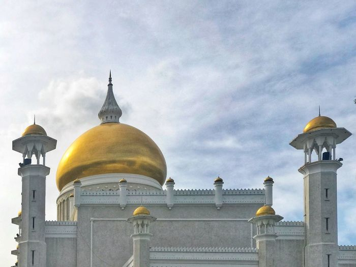 Religion Spirituality Dome Place Of Worship Architecture Built Structure Sky Building Exterior History Cloud - Sky Low Angle View Travel Destinations Outdoors Day Gold Colored No People Nature Travel Photography Travelphotography Brunei Darussalam Travel Memories