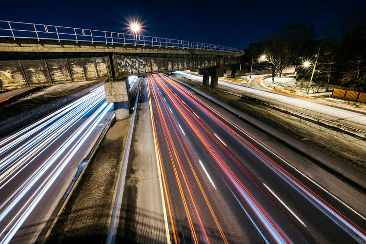 Architecture Blurred Motion Bridge - Man Made Structure Built Structure City Connection High Street Illuminated Light Trail Long Exposure Motion Night No People Outdoors Rail Transportation Road Sky Speed Street Light Transportation