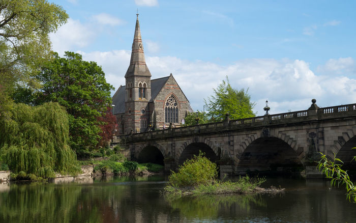 Church Shrewsbury Architecture Bridge Bridge - Man Made Structure Cloud - Sky Day English Bridge Nature Outdoors Reflection River River Severn Sky Tree