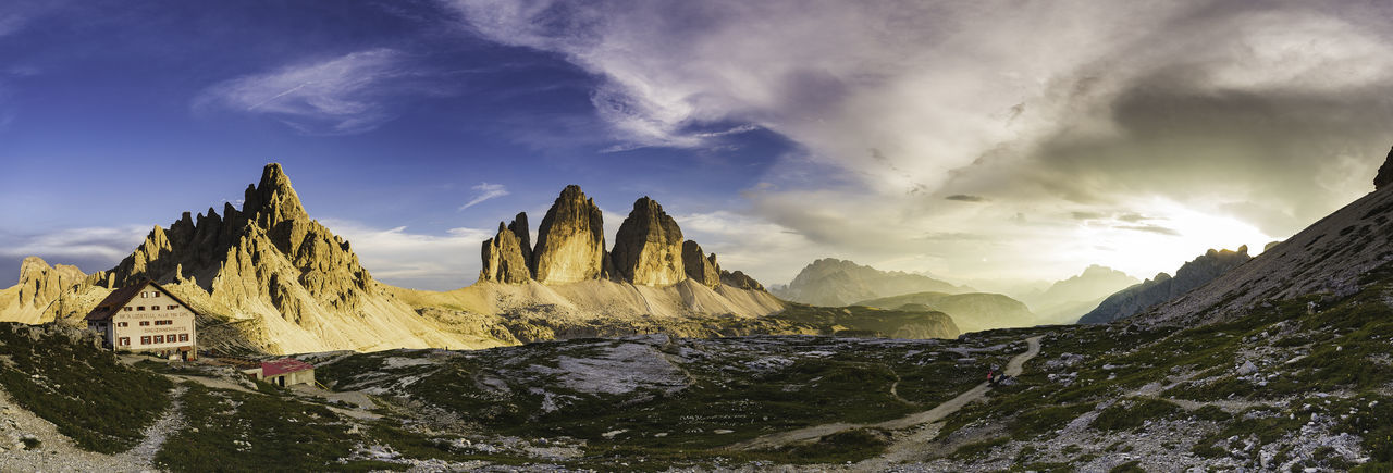Sky And Clouds Clouds And Sky Italy Landscape Panorama Panoramic Dusk Sun Sunlight Dolomites, Italy Dolomites Dolomiti Tre Cime Di Lavaredo Rocky Mountains Snowcapped Mountain Dramatic Sky Physical Geography Rock Formation High Dynamic Range Imaging Natural Landmark