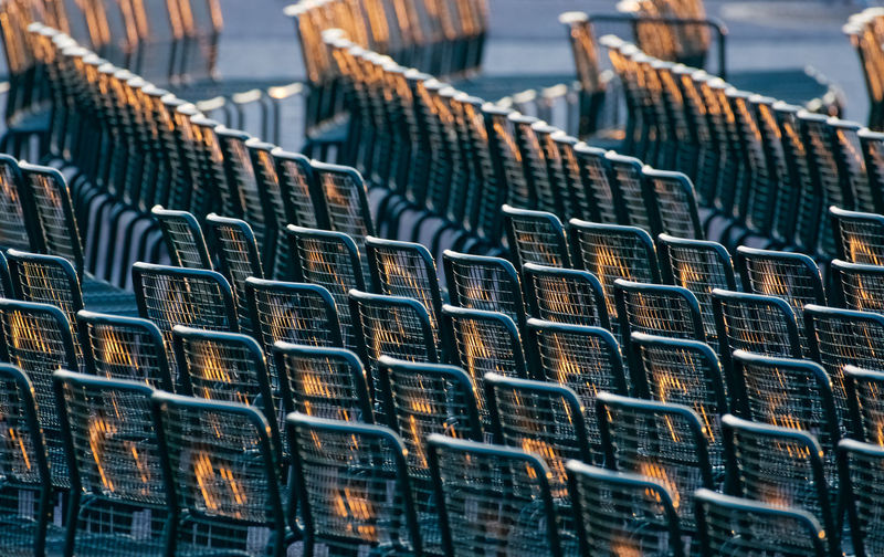 In Stockholm Sweden Chairs Day Golden Hour In A Row No People Outdoors Reflections Sunset Fresh On Market 2017