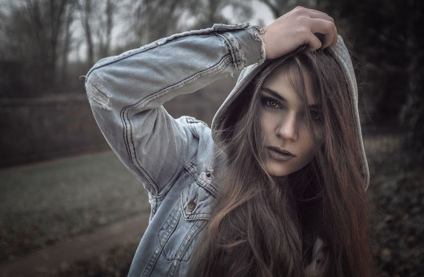 One Person Outdoors Focus On Foreground Long Hair Beautiful Woman Young Women Young Adult Real People Portrait Day Beauty Looking At Camera Close-up Tree Adult People