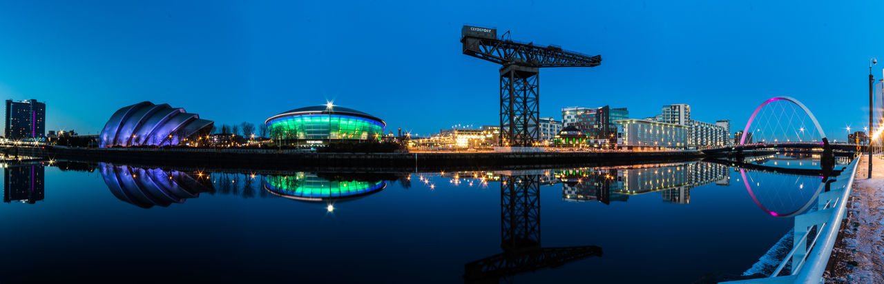 Blue Hour Cityscape GLASGOW CITY SEC Armadillo Sse Hydro Architecture Blue Building Exterior Built Structure City Cityscape Clear Sky Clyde Arc Crane Illuminated Modern Night No People Outdoors Reflection Sky Urban Skyline Water