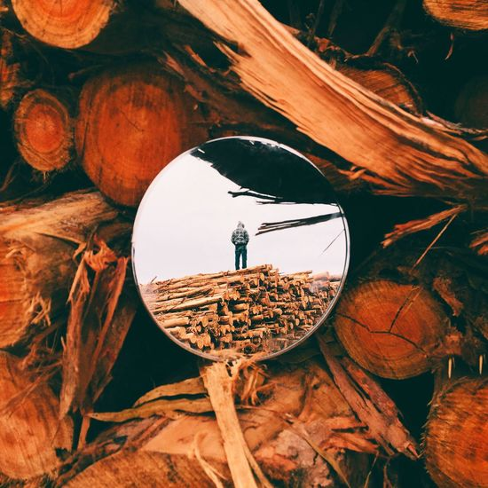 Reflection Of Man On Stack Of Logs