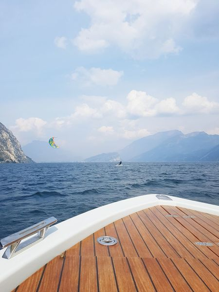 The Secret Spaces Speedboat Travel Destinations Water River Sea Scenics Outdoors Nature Beauty In Nature Sky Feel The Journey Taking Photos Hanging Out Enjoying Life No People Beach Day Wheelchair Access Selective Focus Relaxation Riva Del Garda Long Goodbye Samsung Galaxy S7 Edge Samsung
